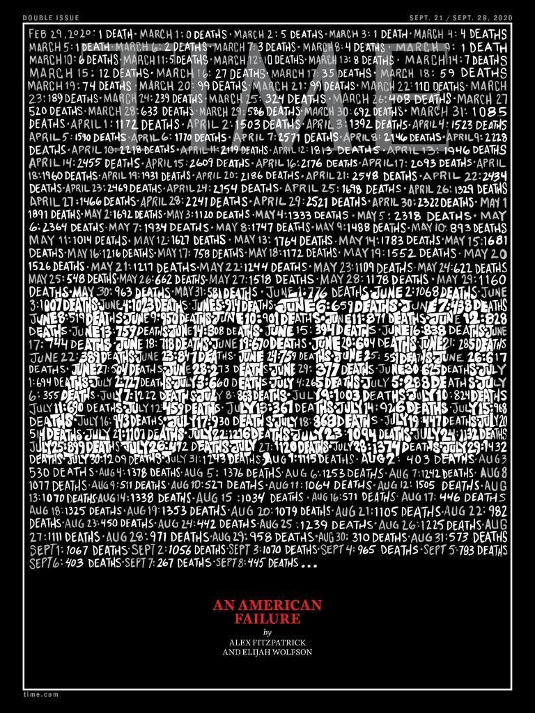 【诺亚大陆倒闭】_全美新冠肺炎死亡逼近20万,《时代》封面:一场美国式的失败