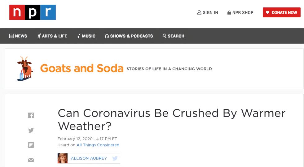 天气变暖会使新冠病毒消失吗?外国专家这样说