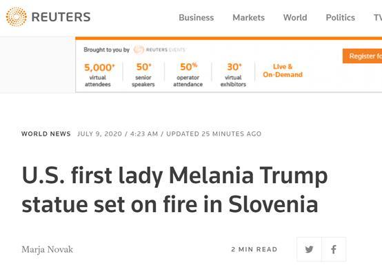 """【盈利营利】_美国""""独立日""""当天,梅拉尼娅在老家斯洛文尼亚的雕像被人烧毁"""