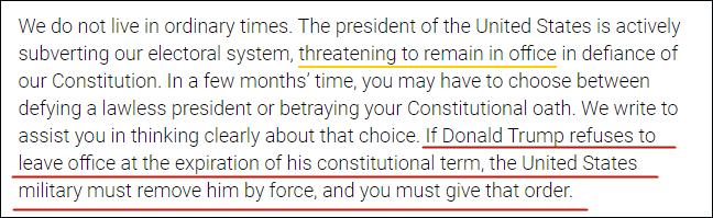 """""""若特朗普输了赖着不走,你有责任武力驱逐"""",信件截图"""