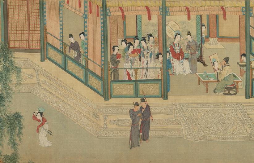 仇英《汉宫春晓图》(局部),约 1540 年,绢本设墨设色,30.6 cm×574.1 cm,台北故宫博物院