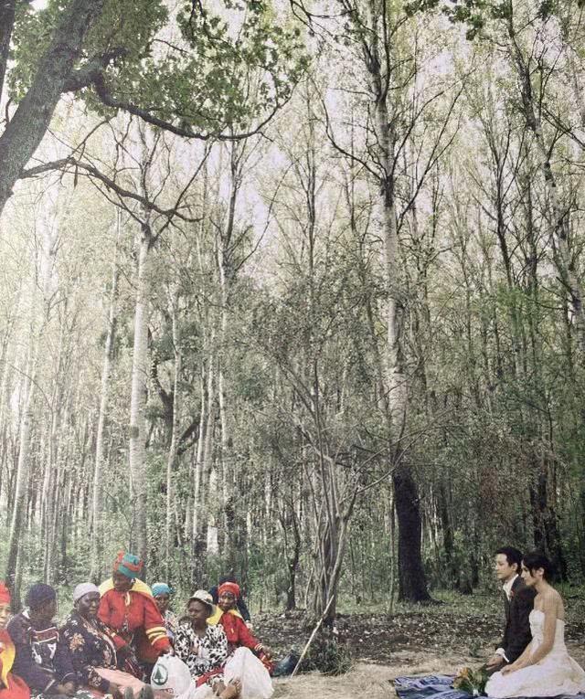 吴彦祖晒婚纱照庆十周年,南非森林举办婚礼意义非凡