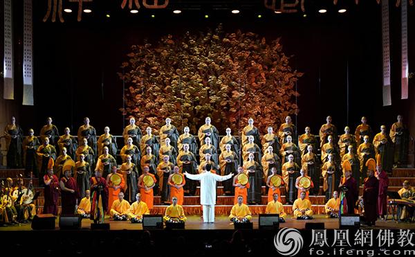 """2019年10月12日,中国佛教梵呗音乐会""""祈福""""在美国纽约林肯艺术中心演出。(图片来源:凤凰网佛教 摄影:灵隐寺)"""