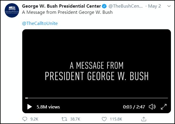 """小布什呼吁""""团结抗疫"""",特朗普立马对号入座发推特"""