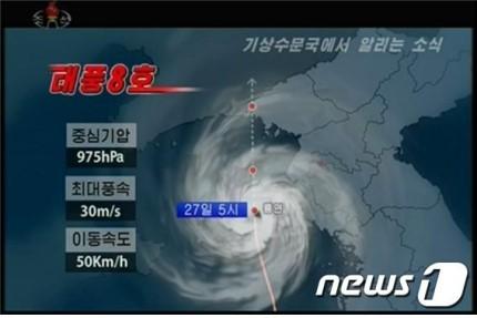 """(图说:朝鲜中央电视台播报""""巴威""""移动路径、移动速度、最大风速、中心气压)"""