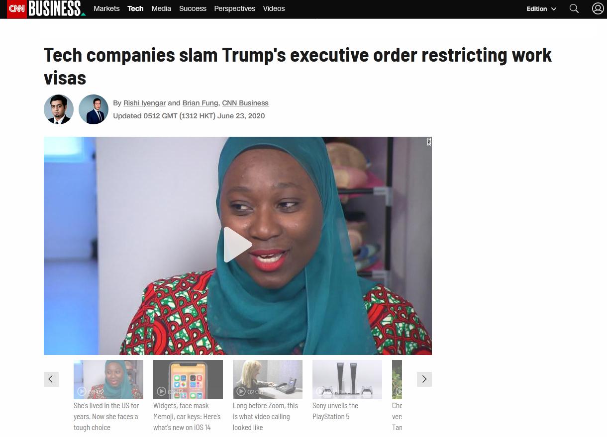 CNN:科技公司猛烈抨击特朗普限制工作签证的行政令