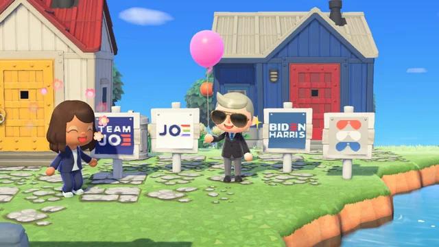 拜登竞选团队在《动森》中建设的虚拟岛。