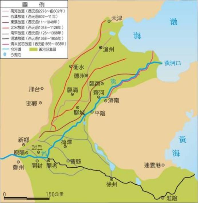 黄河主要的改道情况