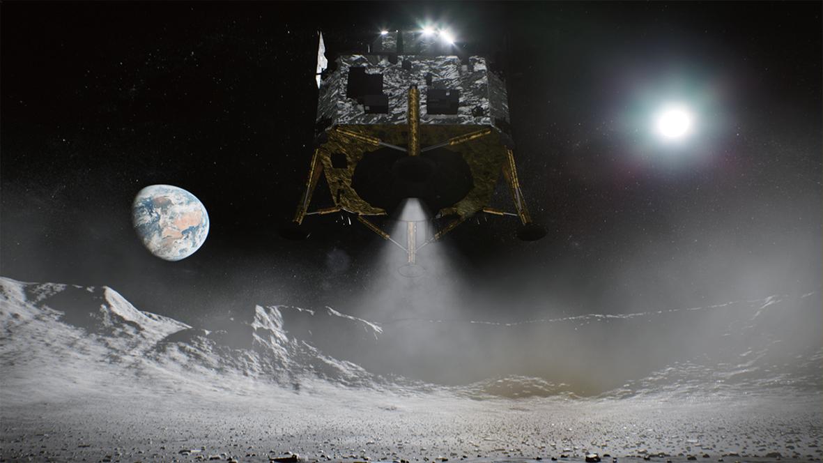 嫦娥五号探测器在月球着陆模拟图。