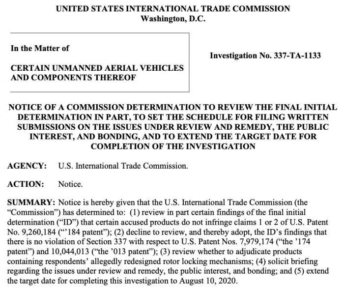 美国一项337调查大疆胜诉 源于两家同行专利争讼