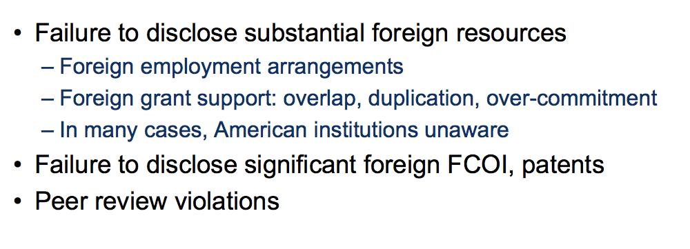 """美国NIH总结被调查者主要涉及的""""不良行为"""""""