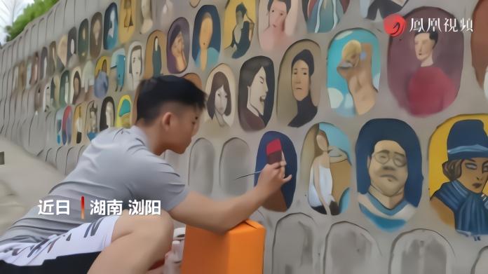 湖南大学生因疫情未返校 四个月绘成一面油画墙