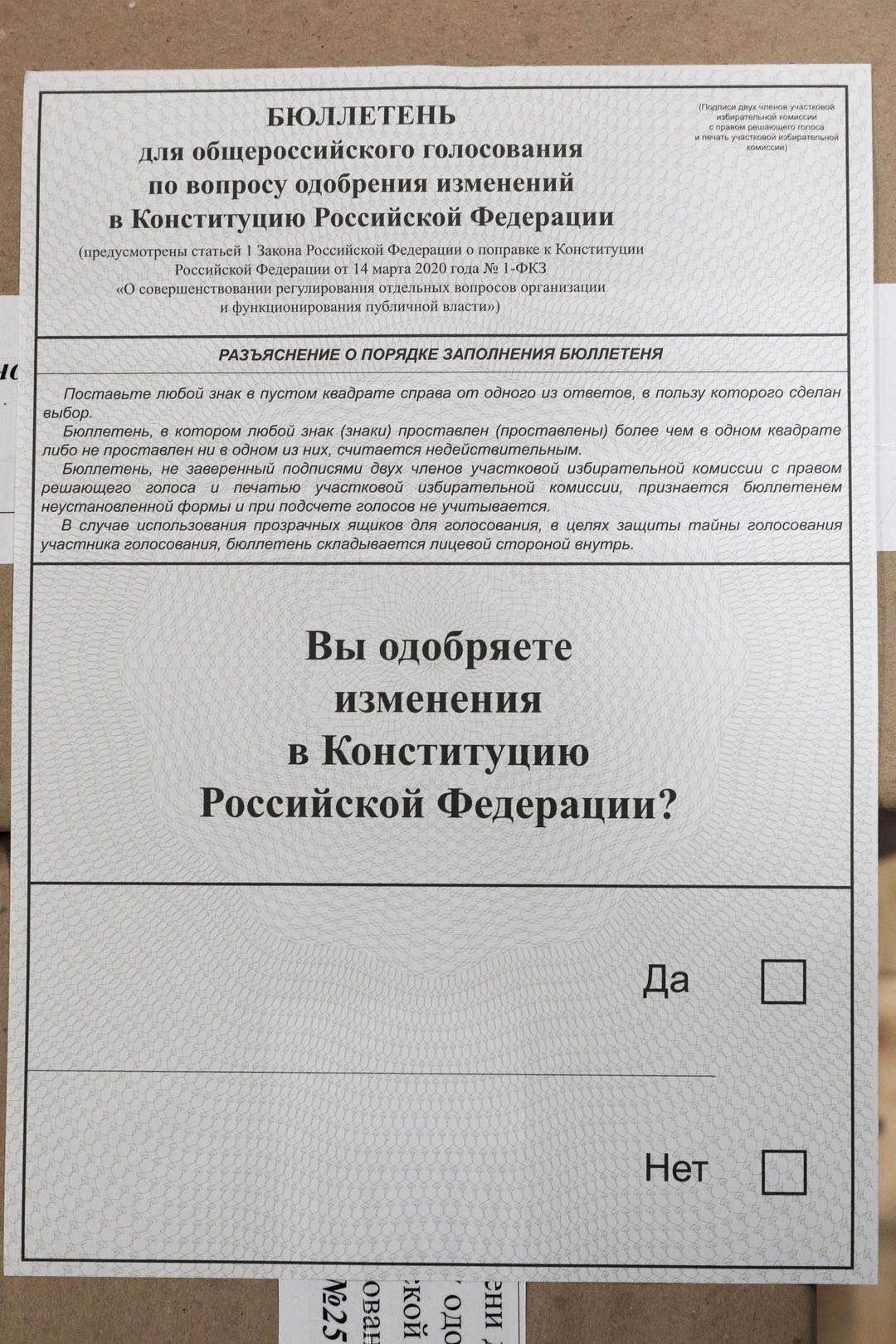 俄罗斯宪法公投选票,民众选择支持还是反对宪法修正案。作者供图