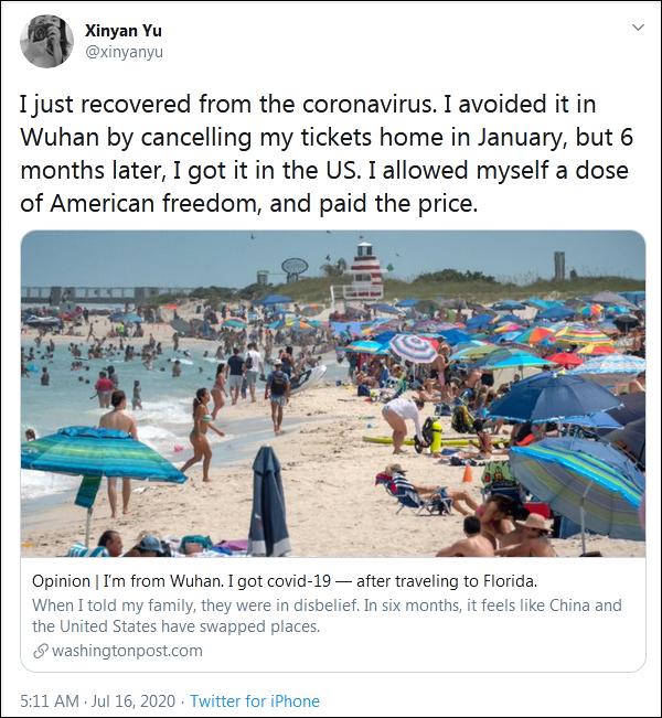 """7月16日,《华盛顿邮报》刊登了Xinyan Yu的评论文章""""我来自武汉,在一场佛罗里达旅行后,感染了新冠病毒""""。"""