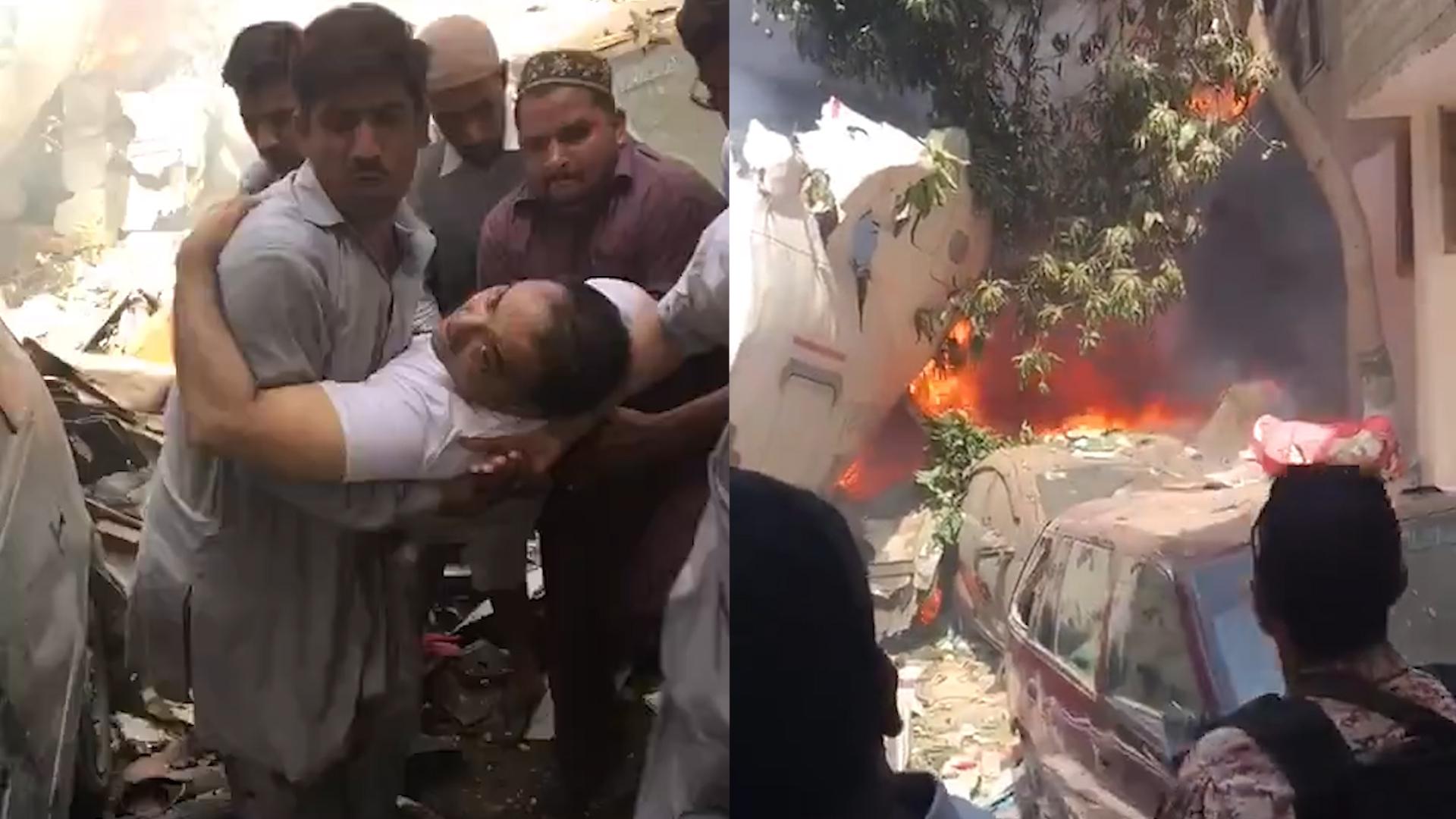 现场曝光!巴基斯坦坠机2人奇迹生还 伤者被众人从废墟中抬出
