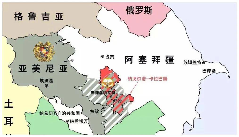 纳卡地区、拉钦走廊、纳希切万位置图(图源:澎湃新闻)