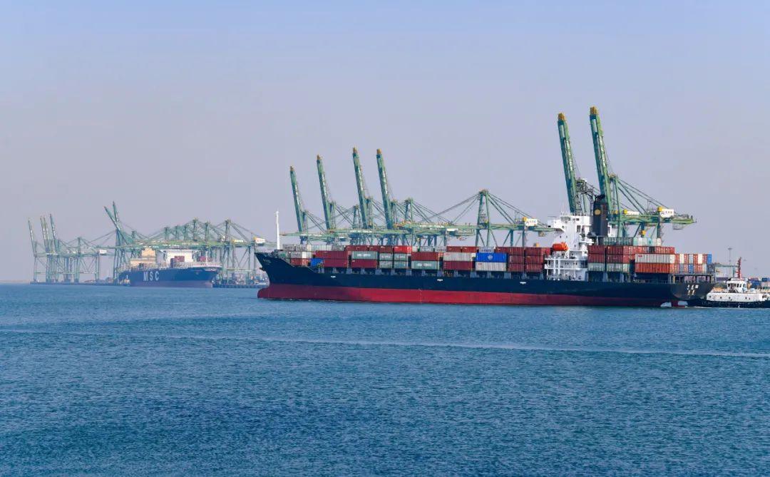 11月4日,天津港东突堤码头,集装箱货轮在港口内停泊。