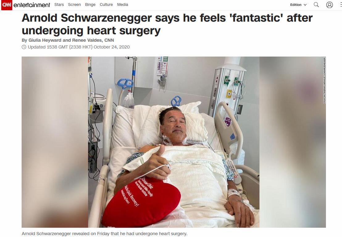 """【迪士尼彩乐邀请码12340】_再次接受心脏手术后,施瓦辛格自称""""感觉棒极了"""""""