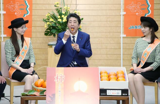 2019年,安倍试吃柿子 图源:日媒