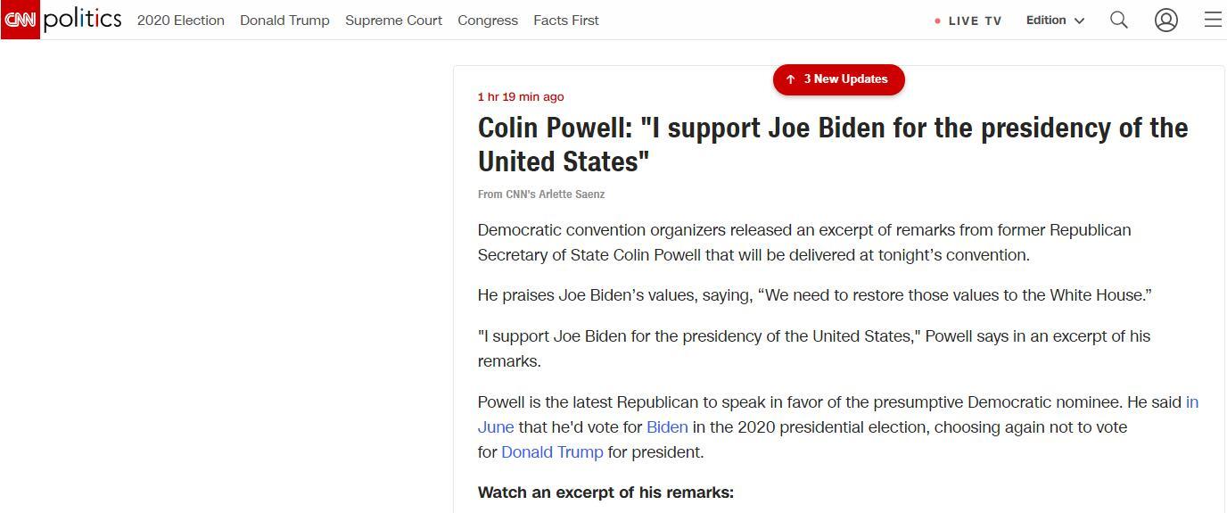 (CNN::科林·鲍威尔称,我支持乔·拜登竞选美国总统)