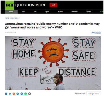 """RT报道:世卫组织称,新冠病毒仍然是""""头号公敌"""",疫情可能会变得""""越来越糟"""""""