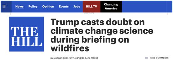 (《国会山报》:特朗普在关于山火的简报会中对气候变化的科学提出质疑)