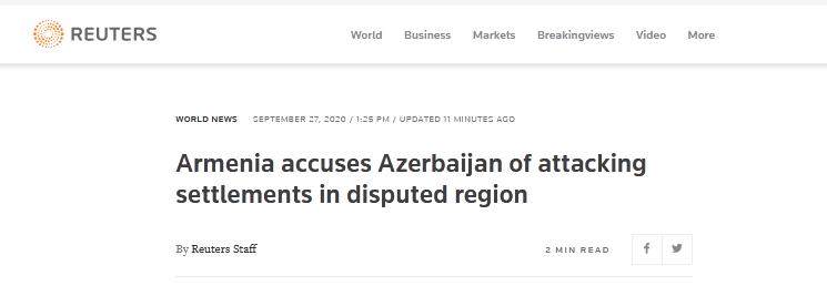 路透社:亚美尼亚指责阿塞拜疆袭击争议地区定居点