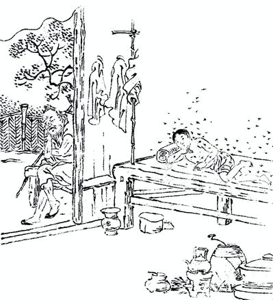 """""""二十四孝""""中吴猛喂蚊孝父的故事,讲述孝子吴猛因为家贫没有蚊帐,为了让父亲不挨咬,所以脱光衣服让蚊子咬自己。"""