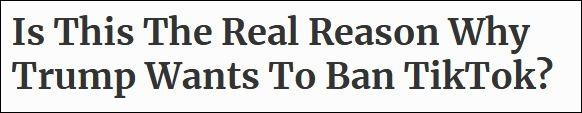 特朗普封禁TikTok 美媒推测这俩原因