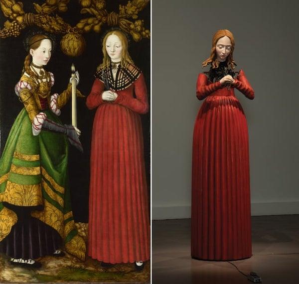 左:克拉纳赫,圣日内维耶和阿波罗尼亚(Saints Genevieve and Apollonia),1506年,伦敦国家美术馆藏;右:迈克尔·兰迪的圣阿波罗尼亚(2013年)
