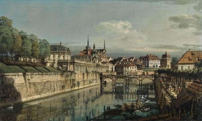 贝洛托《德累斯顿茨温格宫护城河景观》