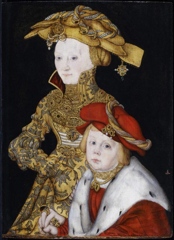 克拉纳赫和他的工作室,《母子肖像》,约1510-1540年,木板油画