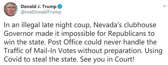 这是非法的深夜政变!大选临近特朗普抨击内华达州
