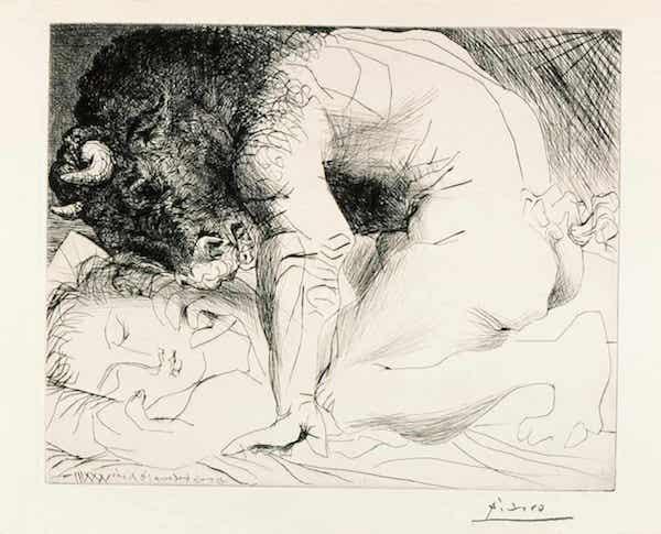 毕加索,《Minotaure Caressant une Dormeuse》,1933年