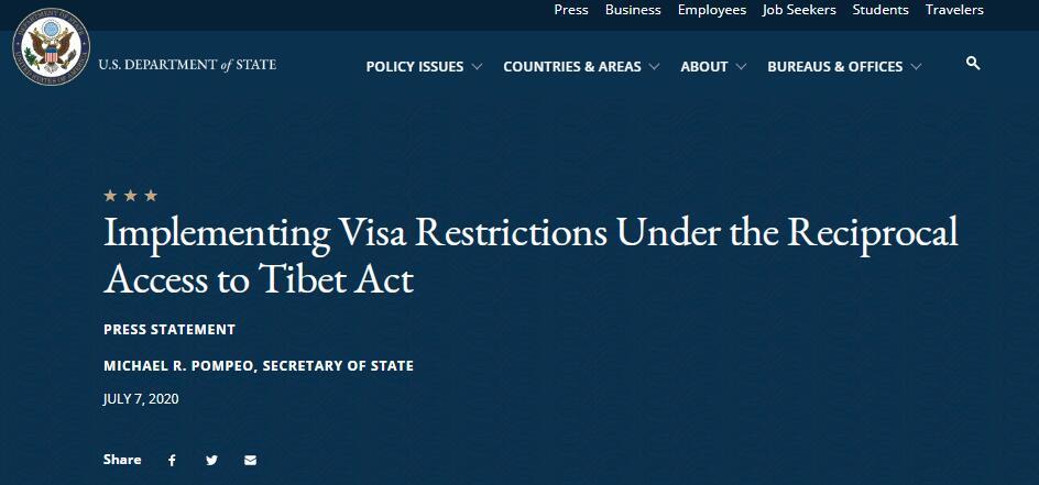 【盐城亚洲天堂】_干涉西藏事务,美国限制部分中国官员签证