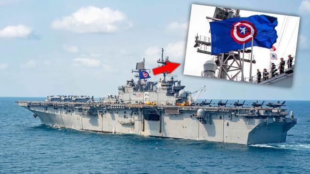 """美式爱国主义:""""美国""""号两栖攻击舰升起美国队长标志旗帜"""