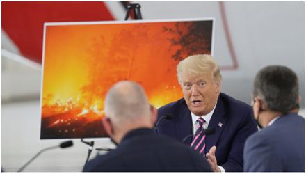 """特朗普在会上表示""""天气会转凉"""" 图源:路透社"""