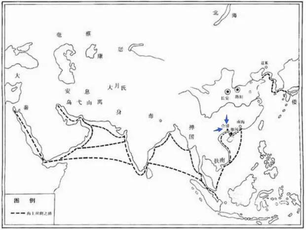 上图_ 汉代海上丝绸之路 标注处为合浦位置所在