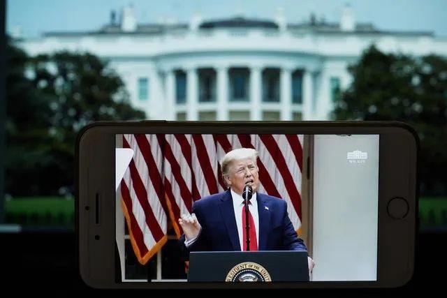 ▲资料图片:这是5月29日拍摄的美国总统特朗普在华盛顿白宫记者会上讲话的视频直播画面。(新华社记者 刘杰 摄)