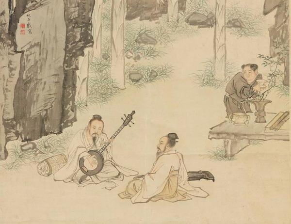 明 仇英 《蕉阴结夏图》(局部) 台北故宫博物院藏