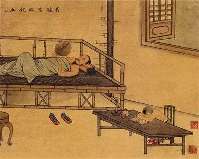 《吴猛恣蚊饱血》,清代王素绘。