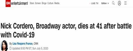 【猫头鹰刷新时间】_百老汇知名演员尼克·科德罗感染新冠去世,曾因并发症截肢