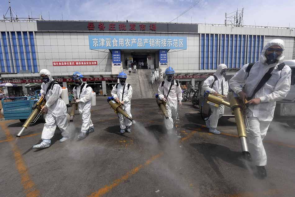 6月16日上午9点,北京蓝天救援队为丰台区岳各庄批发市场进行了消杀。人民视觉 图