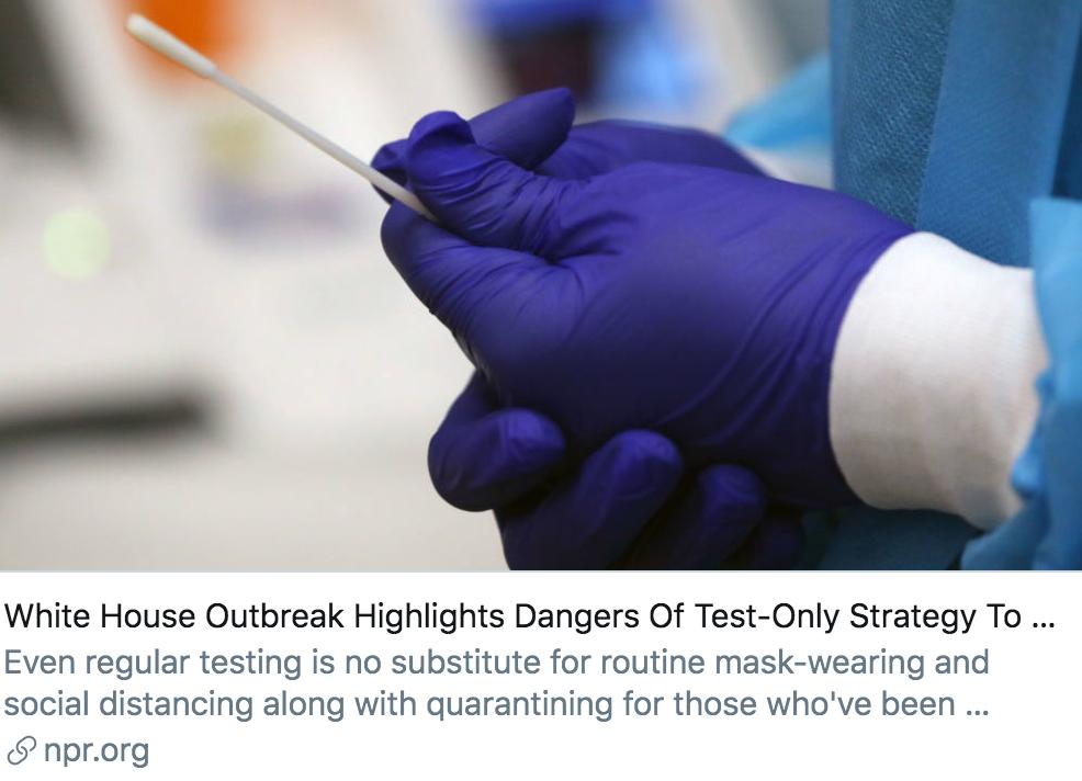 白宫疫情暴发凸显了只通过病毒检测来防疫的危险性。/ 美国国国家公共电台报道截图