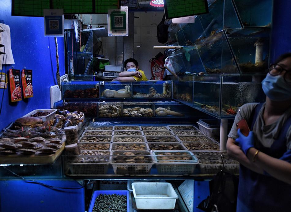 6月16日,三源里菜市场水产摊位。此前,市场内货源地来自新发地的19个水果摊位密接人员,都已进行居家隔离。市场内所有商户已全部完成了核酸检测。人民视觉 图