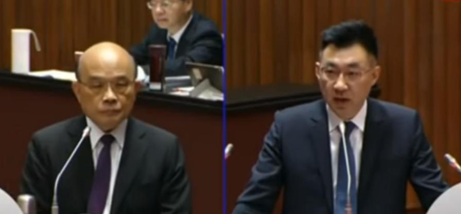 苏贞昌(左)与江启臣。中时新闻网直播画面截图