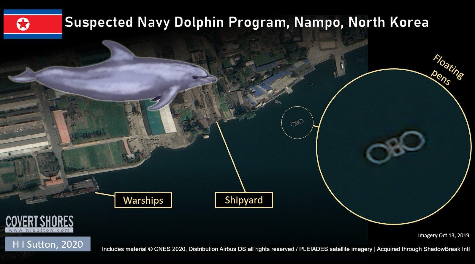 卫星照片显示朝鲜南浦附近沿海出现了一些围栏。
