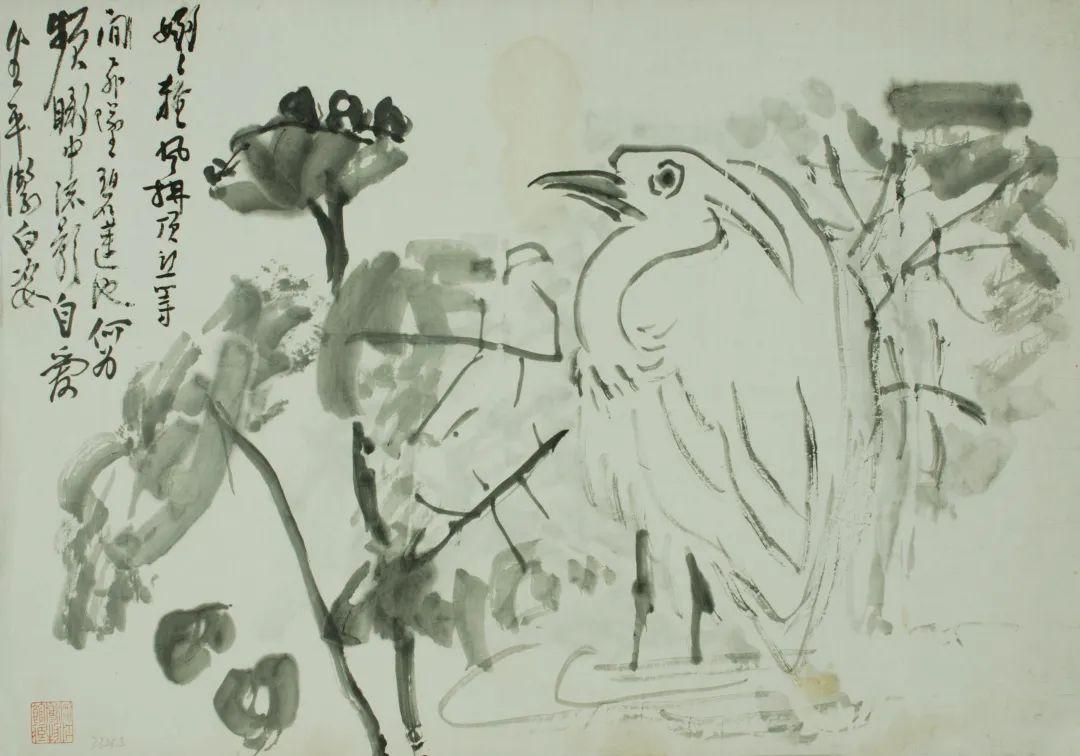 莲塘鹭鸶 黄宾虹 34×48cm 浙江省博物馆藏
