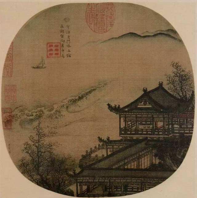 李嵩《月夜看潮图》
