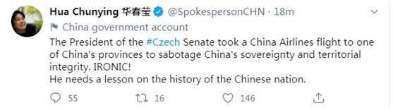 【石家庄楼凤验证】_华春莹发推:捷克参议长需要上一堂中华民族历史课